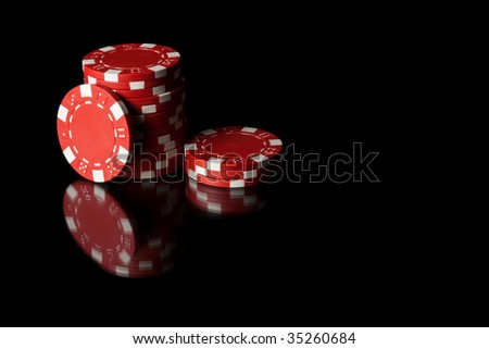 Some red poker chips