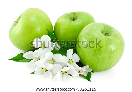 Some ripe,green apples and white flowers with young green leaves isolated on white background.