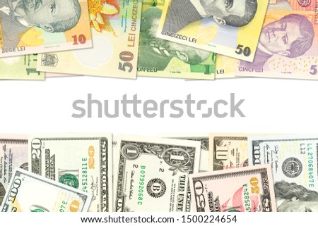 some romanian leu banknotes and american dollar banknotes indicating bilateral economic relations with copyspace #1500224654