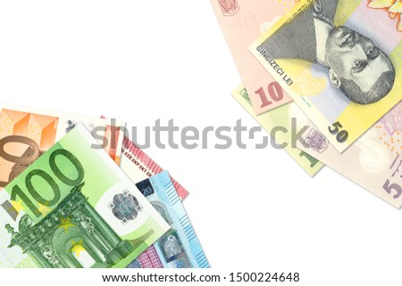 some romanian leu banknotes and euro banknotes indicating bilateral economic relations with copyspace #1500224648