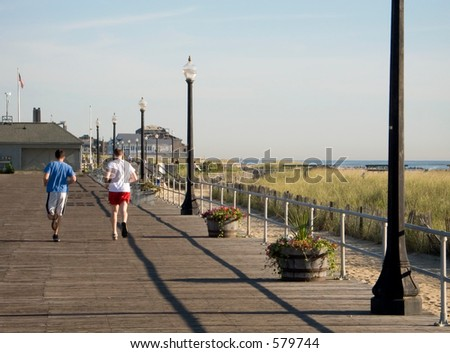 Some runners training on the boardwalk in Ocean Grove NJ.