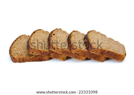 Some slices of rye bread with anise isolated on the white background