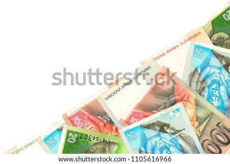 some slovak koruna banknotes with copyspace #1105616966
