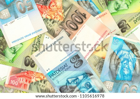 some slovak koruna banknotes with copyspace #1105616978