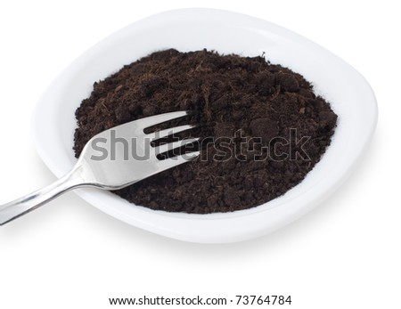 some soil on a white plate with a fork, land ownership concept
