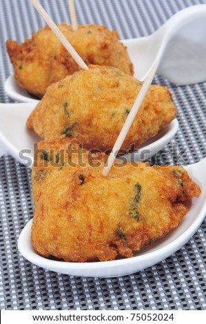 some spanish cod fritters tapas ready to serve