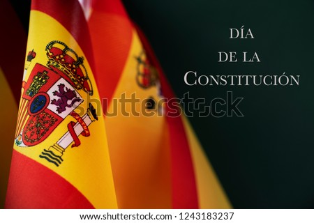 some spanish flags and the text dia de la constitucion, constitution day written in spanish, on a dark green background