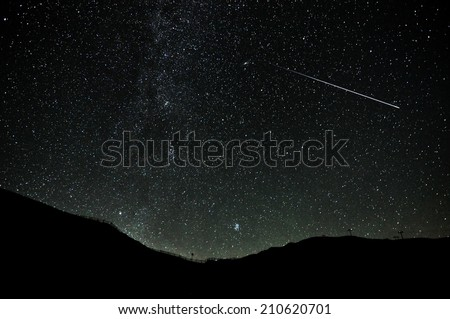 Some stars in the night of San Lorenzo with beautiful mountain on the Dolomiti. Real falling stars with darkness sky
