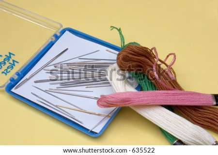 Shutterstock some thread and needles used in handcraft needlework