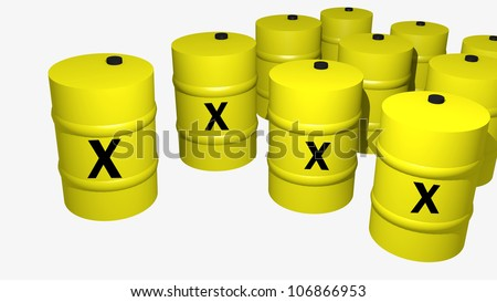 some toxic waste barrels 3d