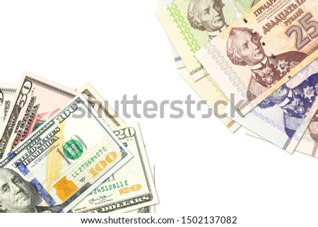 some transnistrian ruble banknotes and american dollar banknotes indicating bilateral economic relations with copyspace #1502137082