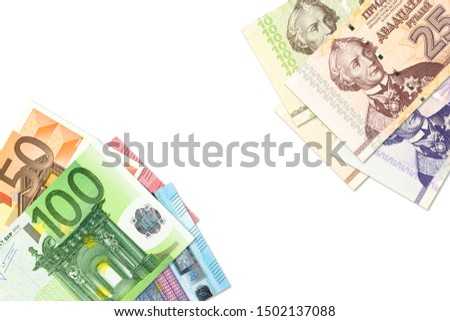 some transnistrian ruble banknotes and euro banknotes indicating bilateral economic relations with copyspace #1502137088
