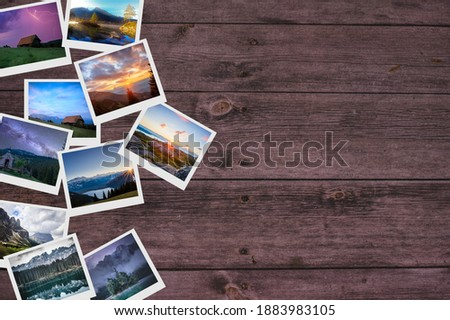 Some travel pics on a table Stock fotó ©