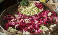 some types of flowers commonly called telon flowers or kembang telon for traditional ceremony in java