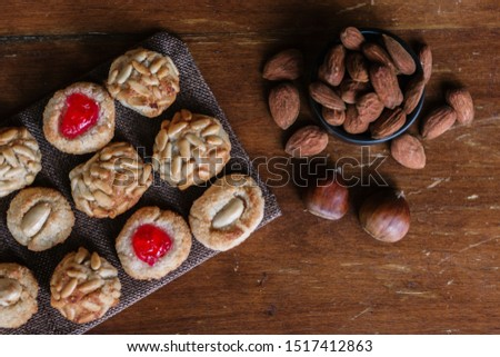 Some typical catalan panellets with almonds and chesnuts, typical desert in Catalonia at All Saint's Day.