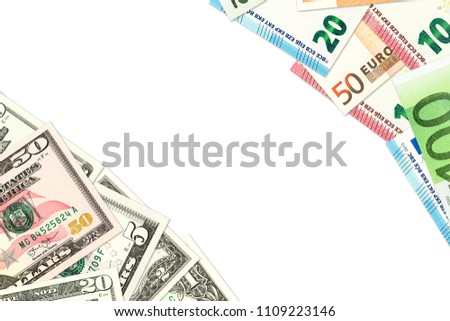 some us-dollar and euro banknotes indicating trade relations with copyspace #1109223146