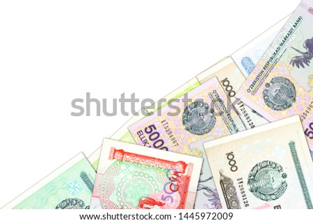 some Uzbek Som banknotes indicating growing economy with copyspace #1445972009