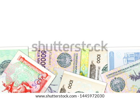 some Uzbek Som banknotes indicating growing economy with copyspace #1445972030