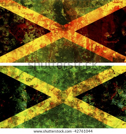some very old grunge flag of jamaica