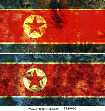some very old grunge flag of North Korea