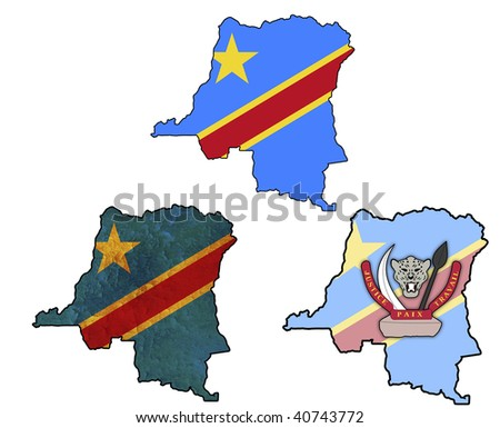 some very old grunge flag on territory of congo