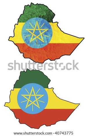some very old grunge flag on territory of ethiopia