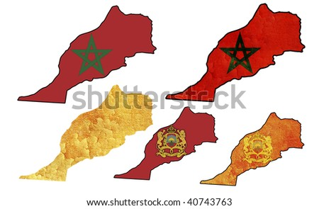 some very old grunge flag on territory of morocco