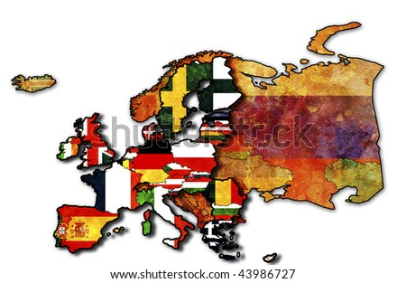 some very old grunge map of european union with flags of countries