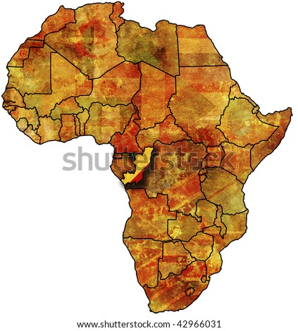 some very old grunge map with flag of congo - stock photo