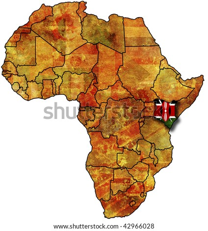 some very old grunge map with flag of kenya