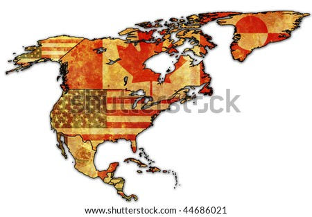some very old grunge map with flags of north america