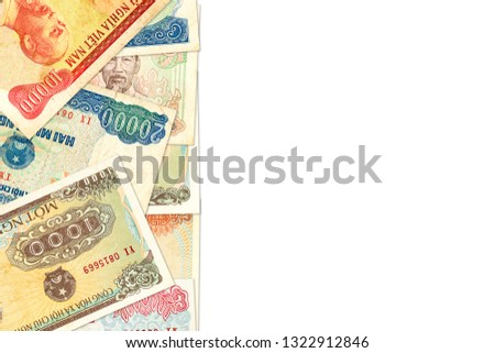 some vietnamese dong bank notes with copy space indicating growing economy #1322912846