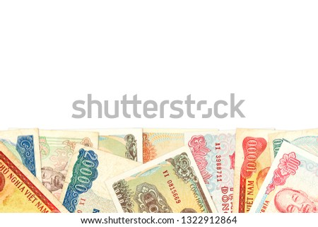 some vietnamese dong bank notes with copy space indicating growing economy #1322912864