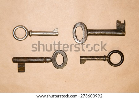 Some vintage keys from the locks on craft paper