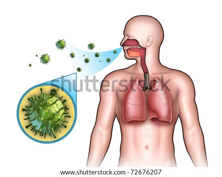 Some virus entering the respiratory system through the nose. Digital illustration.