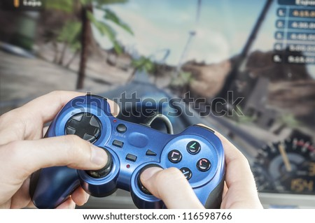 somebody playing a racing game game addiction