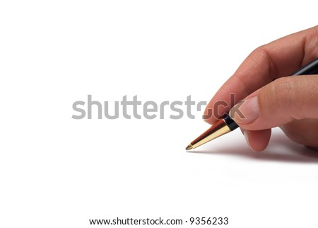 Somebody signing on white background.