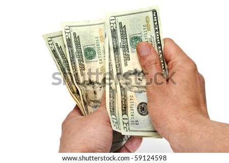 someone counting US dollars on a white background
