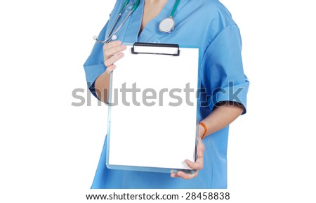 Someone doctor holding blank chart over white background