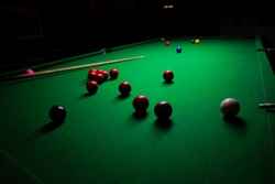 Someone is playing snooker in dark, Snooker playing