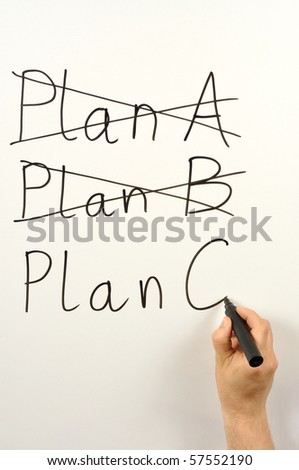 Someone writing plan A, B and C on a board