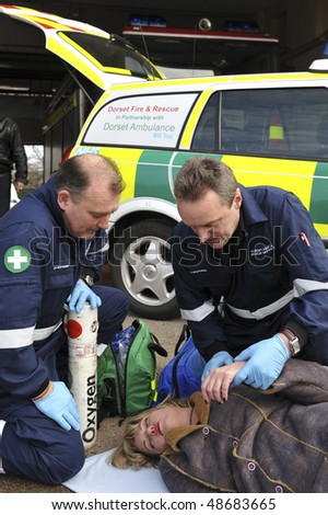SOMEREST, UK - MARCH 2009: A rapid response paramedic demonstration is conducted on March 6, 2009 in Somerset, UK.