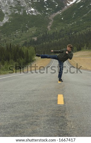 Sometimes people want to show what they can do right on the road. Kata in the middle of Alaska.