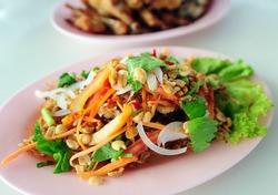 Somtum or Thai papaya salad