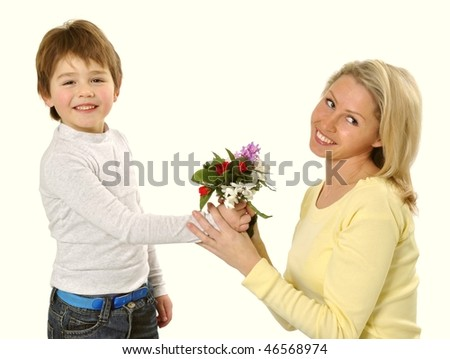 stock photo son giving flowers to her mom on mother s day 46568974