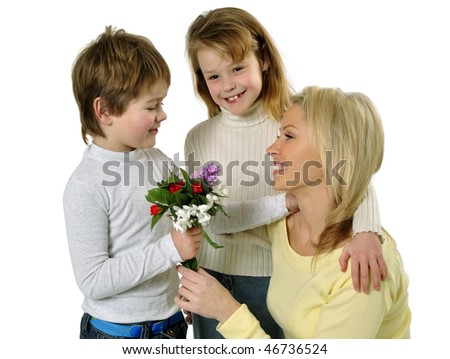 Son giving flowers to her mom on mother's day