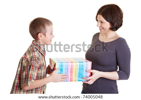 Son offering his mother a big gift