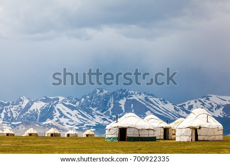 Song Kul high alpine lake in the Tian Shan Mountains of Kyrgyzstan