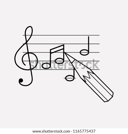 Song writing icon line element.  illustration of song writing icon line isolated on clean background for your web mobile app logo design.
