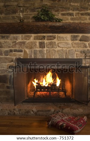 Soothing setting by a cabin fireplace